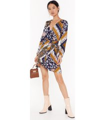 womens mixin' things up wrap mini dress - mustard