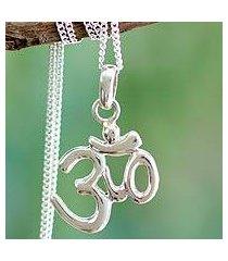 sterling silver pendant necklace, 'light of om' (india)