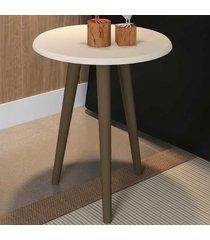 mesa de canto redonda brilhante 2075261 off white - bechara móveis