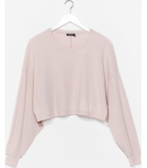 womens chill vibes ribbed lounge sweater - stone