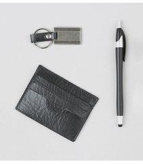 kit de porta cartões em couro + chaveiro + caneta preto