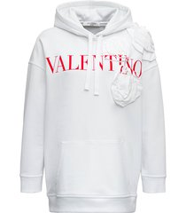 valentino white cotton hoodie with logo and flowers detail