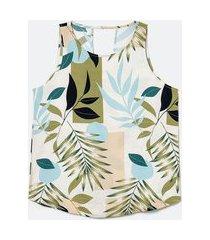 blusa regata em viscose com alça larga e estampa de folhagem | marfinno | branco | gg