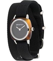 briston watches clubmaster wrap watch - black