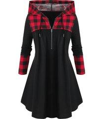 plus size plaid drawstring half zip hoodie
