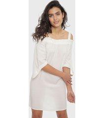 vestido noisy may kyla off shoulder blanco - calce regular