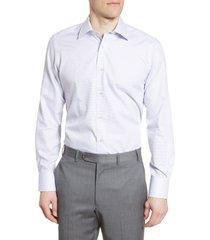 men's david donahue trim fit stripe dress shirt, size 15.5 - 34/35 - blue
