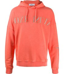 stone island reverse logo hoodie - orange