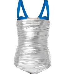 adriana degreas panelled ruched swimsuit - silver