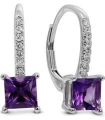 amethyst (1 ct. t.w.) & diamond (1/10 ct. t.w.) leverback drop earrings in 14k white gold