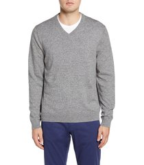 men's big & tall nordstrom men's shop cotton & cashmere v-neck sweater, size 4x-large - grey