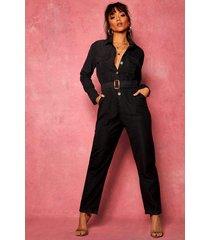 suedette utility cargo belted jumpsuit, black