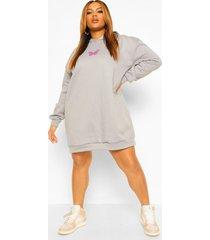 plus sweatshirt jurk met vlinder en capuchon, grey