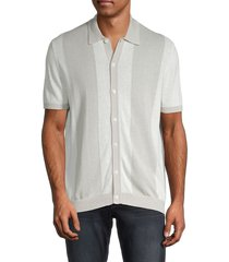 saks fifth avenue men's striped linen & cotton cardigan - cloud grey - size s