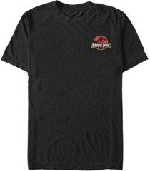 fifth sun jurassic park men's logo red yellow pocket short sleeve t-shirt