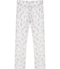 pantalón descanso con estampado floral color blanco, talla l
