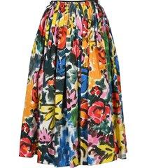 pleated brushstroke midi skirt