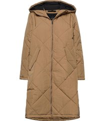 slfmaran padded coat b gevoerde lange jas bruin selected femme