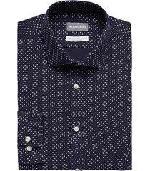 michael kors men's navy squares slim fit dress shirt - size: 17 32/33