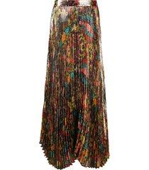 alice+olivia katz pleated maxi skirt - gold