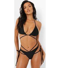 driehoekige bikini top met bandjes en opruk, black