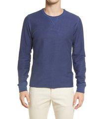 billy reid cotton & linen sweatshirt, size medium in airforce blue at nordstrom