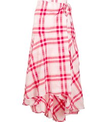 ganni check wrap skirt - red