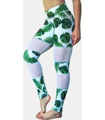 leggings deportivos de secado rápido con estampado floral al azar activo en verde