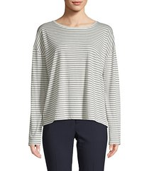 pencil stripe long-sleeve cotton tee