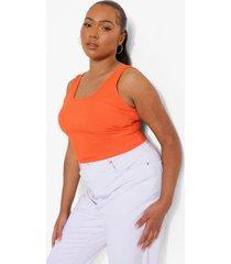 plus hemd met geribbelde buste, tangerine