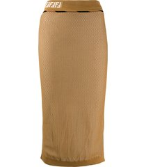 fendi ff motif mesh pencil skirt - yellow
