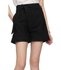 women's anine bing kinsley tie waist shorts, size 4 us - black
