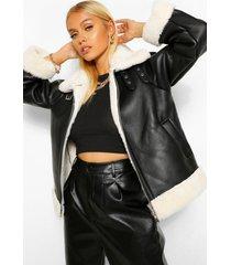 aviator jacket met faux fur voering, zwart