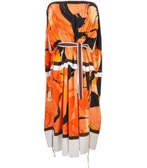 proenza schouler marocaine printed cape dress - orange