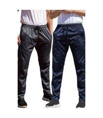 kit 2 calças esportiva ks masculina agasalho cós de elástico bolsos laterais kit-mc-0375 multicolorido
