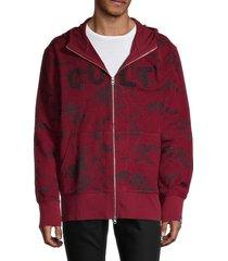 cult of individuality men's printed split zip hoodie - burgundy - size xxl