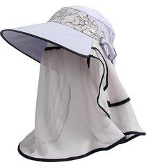sombrero para mujer, verano femenino visera uv encaje-gris