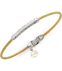 18k gold, stainless steel & diamond bracelet