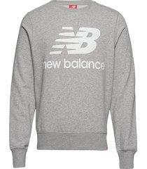 essentials stacked logo crew sweat-shirt tröja grå new balance