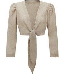 linen tie blouse