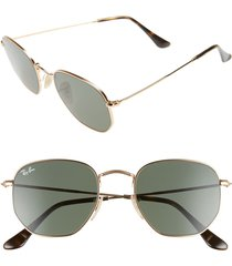 ray-ban 51mm hexagonal flat lens sunglasses - metal gold/ green