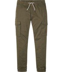 pantaloni cargo elasticizzati con elastico in vita slim fit straight (verde) - rainbow