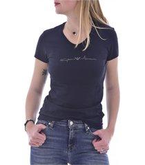 tee shirt stretch à logo clouté col v