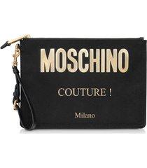 moschino black and gold nylon signature clutch