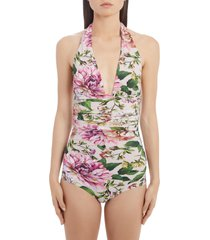 women's dolce & gabbana floral print ruched one-piece swimsuit, size 4 - pink