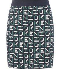 kenzo logo cotton-blend knit miniskirt