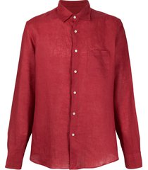 peninsula swimwear single-pocket linen shirt - red