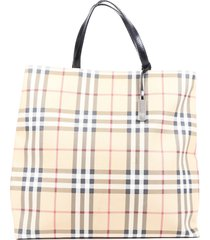 burberry nova check coated canvas leather tote bag brown/multicolor sz: l