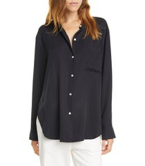 women's vince relaxed band collar blouse, size large - blue