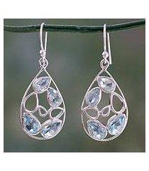 blue topaz dangle earrings, 'sky blue tears' (india)